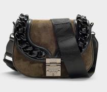 Kleine Handtasche Trisha Chain aus grauem Kalbsleder