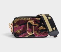 Camo Pailletten Snapshot Kamera Tasche aus rosanem Split Kuhleder