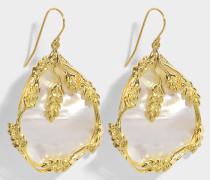 Hängende Ohrringe Françoise aus vergoldetem Messing und perlmuttfarbener Perle