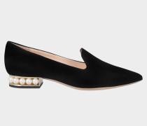 18Mm Casati Pearl Loafers aus schwarzem Wildleder