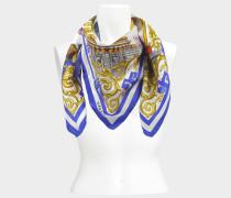 90x90 Dragon Tuch aus blauer und weißer Seide