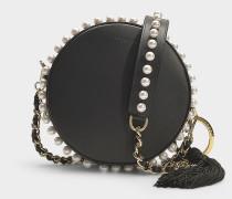Kleine Handtasche Rena Circle aus schwarzem Kalbsleder