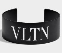 VLTN Medium Cuff Bracelet aus schwarzem und weißem Metall