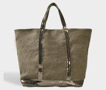 Pailletten and Canvas Medium + Tote Bag aus Khaki Leinen