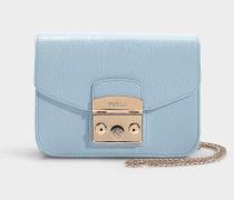 Handtasche Metropolis Mini aus blauem Kalbsleder