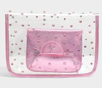 Transparent Clutch mit Pouch aus rosanem PVC