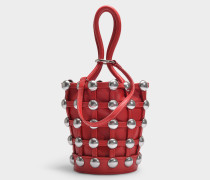 Roxy Cage Mini Bucket Bag with Studs in Red Lambskin