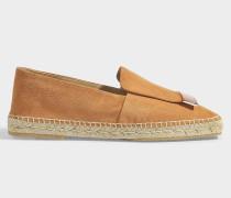 Flat Moccasins Espadrilles aus Tan Leder