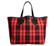 The Giant Reversible Tote Bag aus rotem und schwarzem gebundenem Tartan