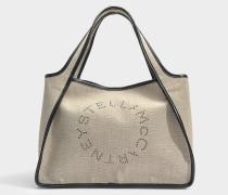 Leinen Canvas Stella Logo Tote Tasche aus Desert braunem Eco Material