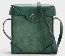 Mini Handtasche Pristine aus Samt und pflanzlich gegerbtem Kalbsleder in Grün