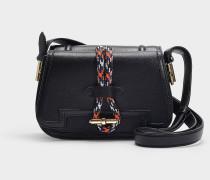 Kleine Handtasche Twin aus schwarzem Kalbsleder