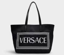 Tasche Shopper Logo aus schwarzem und weißem Nylon