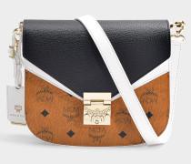 Kleine Schultertasche Patricia Visetos Leather Block aus cognacfarbenem, schwarzen Visetos Stoff