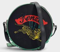Kleine Handtasche mit Schulterriemen Jumping Tiger aus schwarzem Polyamid und Acryl