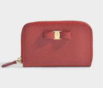 Kleines Portemonnaie mit Reißverschluss Ginny aus rotem Kalbsleder