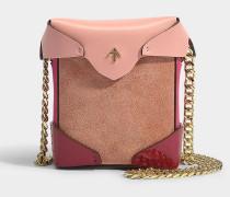Micro Handtasche Pristine mit Kettenriemen aus Samt und rosa pflanzlich gegerbtem Kalbsleder