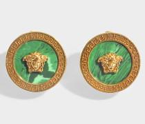 Ohrringe Medusa aus Malachit und goldenem Metall