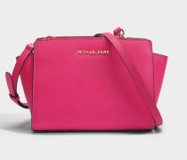 Selma Medium Messenger Tasche aus Ultra rosanem Saffia Leder