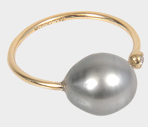 Ring Open Diamond and Pearl