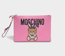 Teddy Playboy Large Beuteltasche Tasche aus rosanem Saffiano