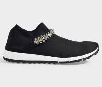 Sneaker Stretch mit schwarzen Maschen und Kristallen