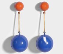 Sphere Drop Ohrringe aus Tangerine und Cobalt Eco Messing
