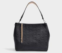 Tasche Klara Monogrammed Hobo Medium aus schwarzem Leder