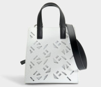 Flyausg Logo Essentials Mini Tote Bag aus weißem Kunststoff und Leder