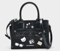 K/Kuilted Mini Tote Bag mit Pins aus schwarzem Leder und Tweed