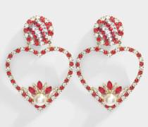 Ohrringe Renata in Rot aus vergoldetem Messing in Rot