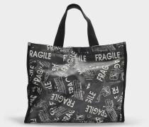 Shopper 'Fragile' aus PVC in Schwarz und Weiß