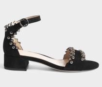 Wildleder Felice Studded Sandalen aus schwarzem Wildleder