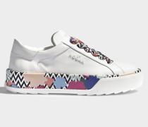 R320 Sneaker mit Flower Print aus weißem Leder