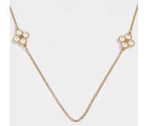 Halskette Rope Clover Rosary aus cremefarbenem und goldenem Metall und