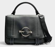 Handtasche Disc Satchel aus schwarzem, glattem Kalbsleder