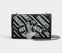 Kleine Handtasche 'I WANT CHOO' aus schwarzem und kreidefarbigen Kalbsleder