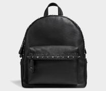 CamPUs Backpack mit Nieten aus schwarzem Kalbsleder