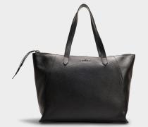 Shopper Nuova Shopping Cuisa Senza Piping aus genarbtem Kalbsleder in Schwarz