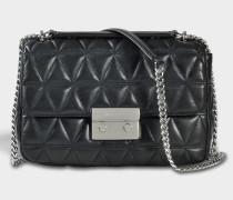 Sloan Large Chain Shoulder Bag aus schwarzem Pyra gestepptes Lammleder