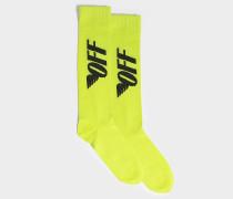 Lange Socken Fluo Off Wings aus schwarzem und gelbem Polyester