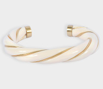 Armband Diana Twisted aus vergoldetem, elfenbeinfarbenem Messing