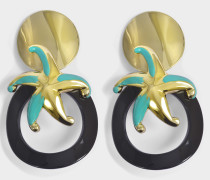 Star Ohrringe aus goldfarbenemenem und türkisem Metall