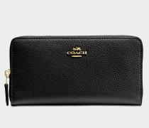 Accordion Zip Geldbörse aus schwarzem Kalbsleder