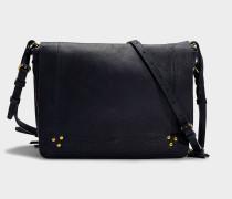 Handtasche mit Schulterriemen Igor aus schwarzem Ziegenleder in Marineblau