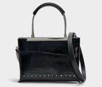 Kleine Handtasche Dime mit Kalbsleder und Krokoprägung in Schwarz