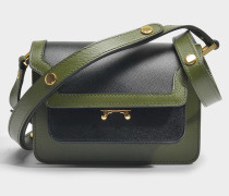 Mini Trunk Tasche aus schwarzem und olivgrünem Saffiano Leder