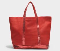 Washed Leder und Pailletten Medium + Tote Bag aus karminrotem Kuhleder