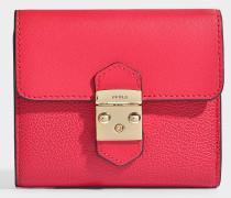 Kleines Portemonnaie Metropolis mit Taschenklappe aus rotem Kalbsleder