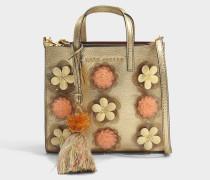 The Mini Grind Embellished Flowers Tasche aus Gold Kuhleder und Metallfarbener Folie